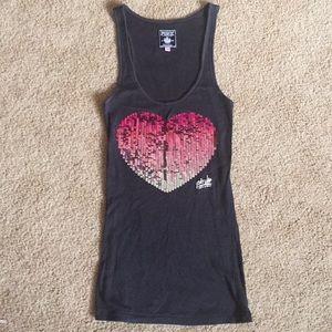 Victoria's Secret pink sparkly heart tank top sz S
